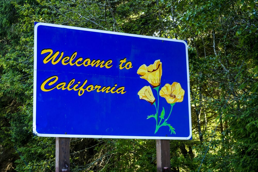 Welcome to California state sign on highway upon entering state border of California