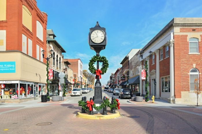 CAPE GIRARDEAU,MO, USA - NOVEMBER 20, 2017: Downtown during Christmas decoration in Cape Girardeau, Missouri, United States