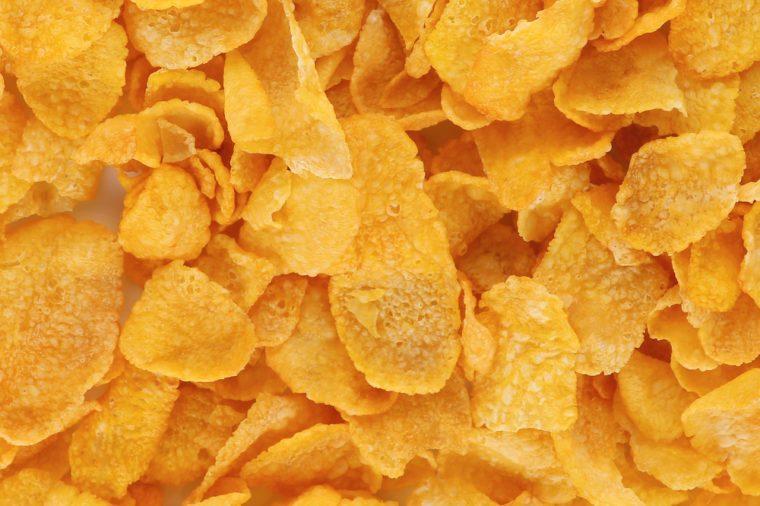 Cornflakes close-up. Cereals.