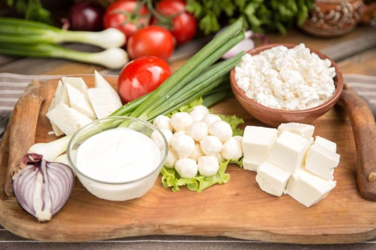 Rustic Natural Dairy Products on wooden table