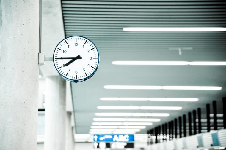 Public Clock In Frankfurt Airport With Copyspace