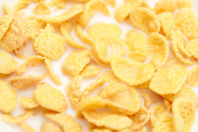 Close-up of a corn flakes with milk