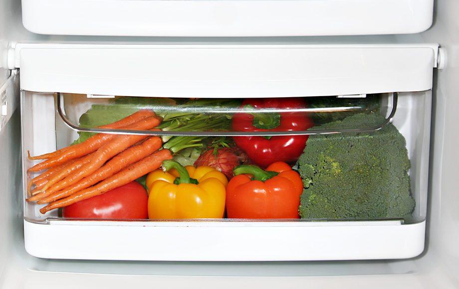 Fresh fruit and vegetables in the fridge.