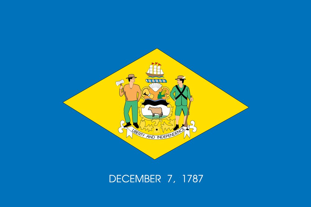 The flag of the United States of America State Delaware