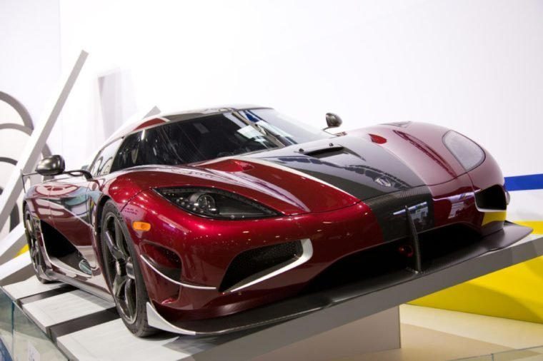 Detroit, Michigan / USA - January 24, 2018: A Koenigsegg Agera RS Supercar featured at the 2018 North American International Auto Show.