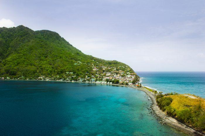 Scotts head in Saint Mark Parish in Dominica. Scotts Head is a beautiful marine reserve in the Caribbean.