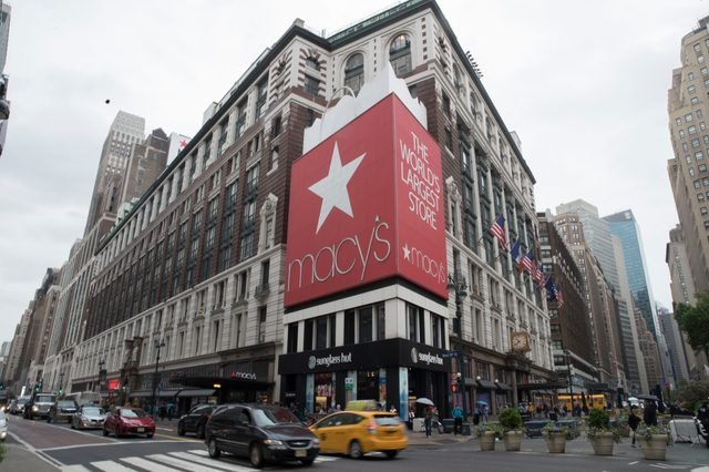 Traffic makes it's way past the Macy's flagship store, in New York.