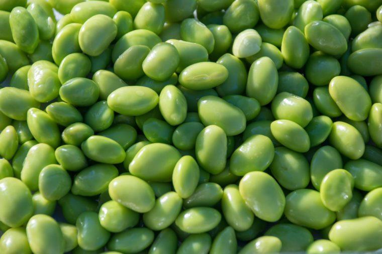 Beans green closeup