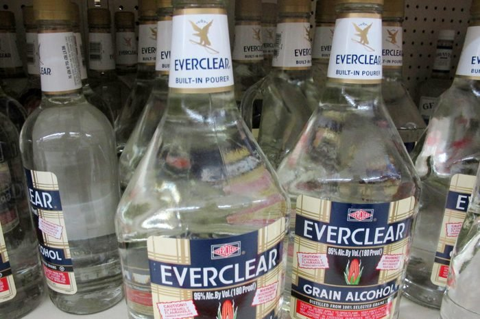 This photo shows bottles of Everclear, 190 Proof grain alcohol, for sale at a grocery store in Madison, Wis. A bill in the state Assembly would ban the sale of 190-proof alcohol like Everclear, out of concerns about its potency