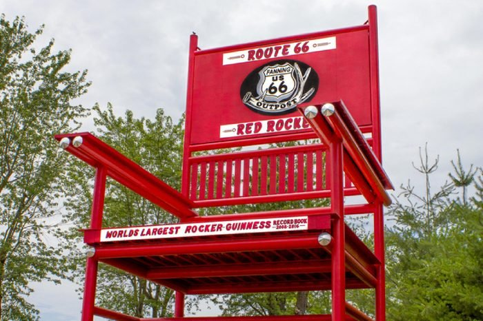 Fanning, Missouri, United States - circa June 2016 - Giant Red Rocker rocking chair on display at Fanning 66 Outpost on famous Route 66