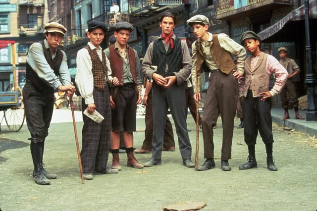 FILM STILLS OF 'NEWSIES' WITH 1992, CHRISTIAN BALE, MARTY BELAFSKY, MAX CASELLA, ENSEMBLE, AARON LOHR, ARVIE LOWE JR, DOMINIC LUCERO, KENNY ORTEGA IN 1992