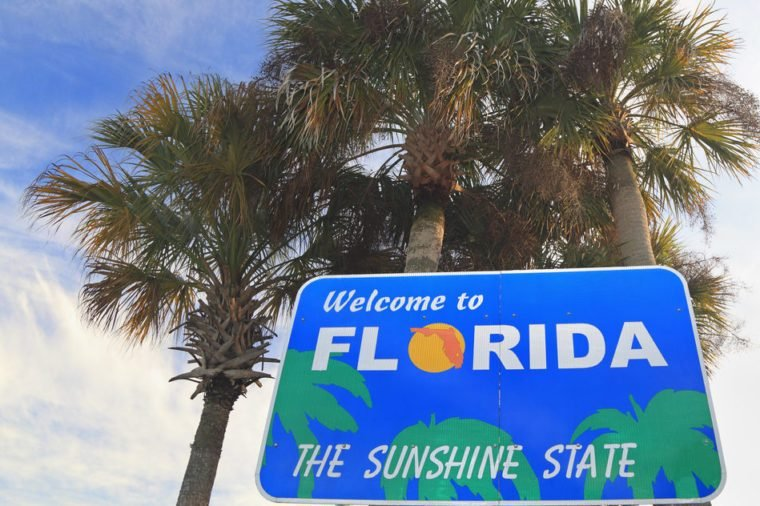 """Welcome to Florida"" sign"