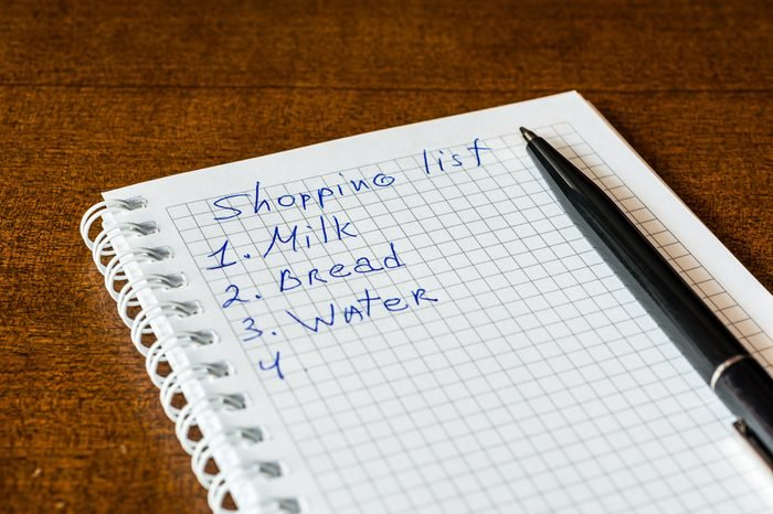 Create a shoping list for walk to the shop