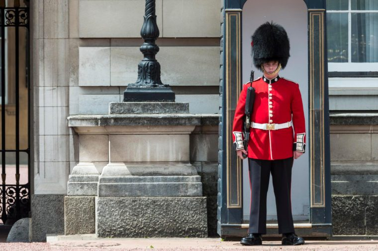 Security guard of the Royal Guard with bearskin cap, Buckingham Palace, London, England, Great Britain