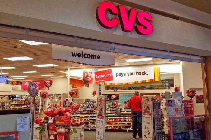 HDR image, CVS pharmacy drug store entrance, shopping mall - Woburn, Massachusetts USA - February 14, 2018
