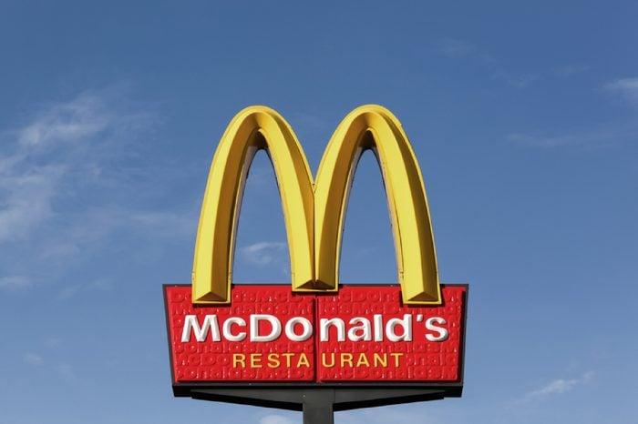 Horsens, Denmark - September 3, 2015: McDonald's logo. McDonald's is the world's largest chain of hamburger fast food restaurants.