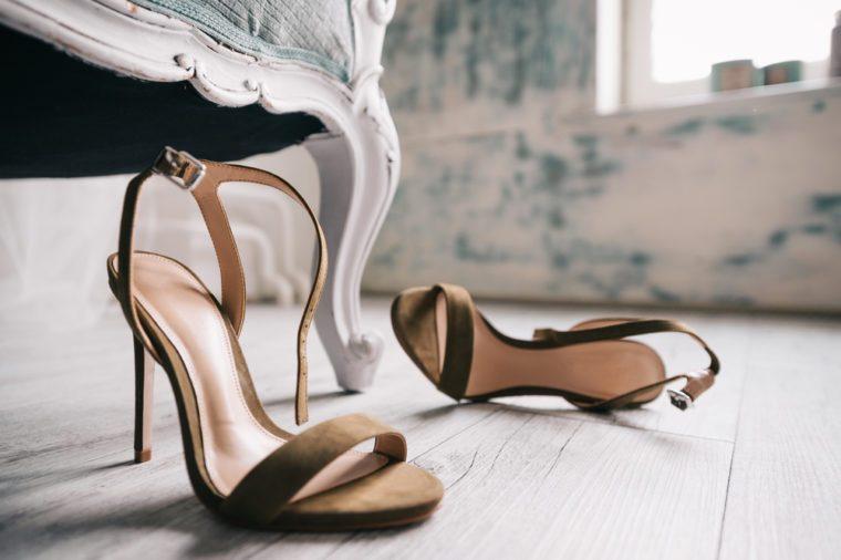 High Heels Shoes on Floor Rustic Pastel Color Film Look