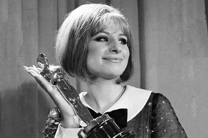 """In her very first movie Barbra Streisand won Oscar for her performance in """"Funny Girl"""" in Hollywood, Los Angeles, . She and Katharine Hepburn were named the year's best actresses in a rare tie. Miss Hepburn was honored for her performances in """"The Lion in Winter"""