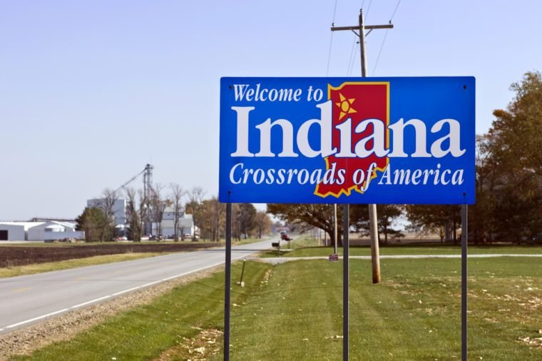 A welcome sign at the Indiana state line