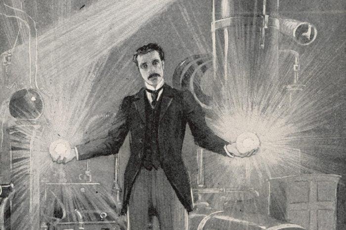 Nikola Tesla (1856-1943) Croatian Inventor Holding Balls of Flame in His Bare Hands