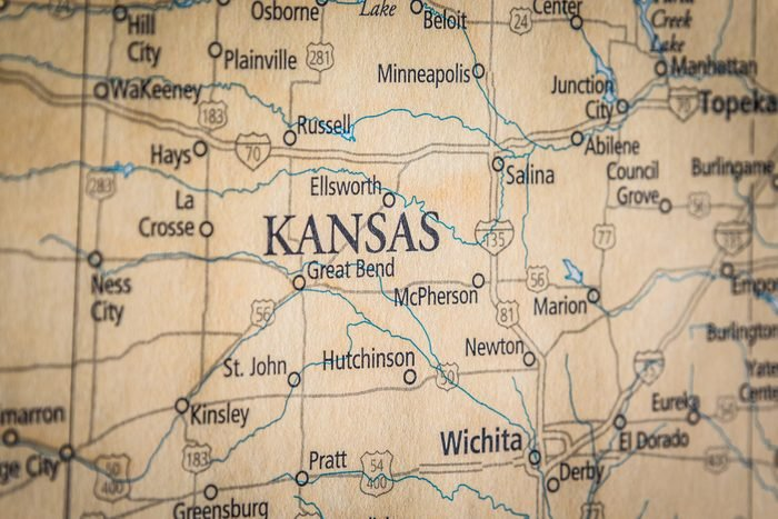 Closeup Selective Focus Of Kansas State On A Geographical And Political State Map Of The USA.