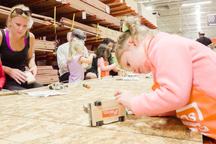 Kids building workshop at the local Home Depot store.