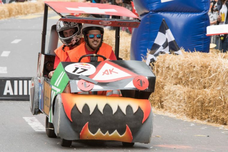 Lausanne, SWITZERLAND - SEPTEMBER 09, 2017 : Running soapboxes in the streets of Lausanne at RED Bull Soap Boxes 2017