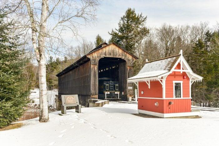 Lincoln, New Hampshire - February 15, 2016: Clark's Trading Post Covered Bridge in Lincoln, New Hampshire.