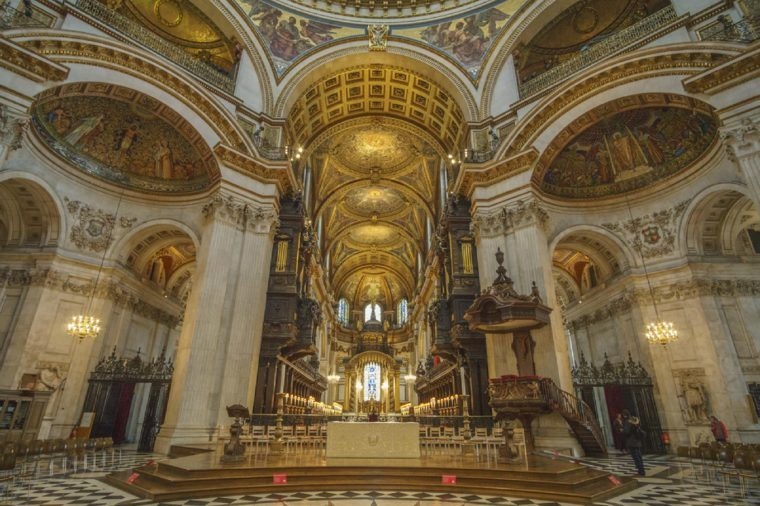 LONDON - UNITED KINGDOM, FEBRUARY 2016: Interior of the St paul's cathedral. It is an Anglican cathedral, the seat of the Bishop of London and the mother church of the Diocese of London, UK.
