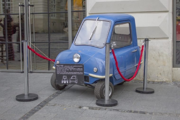 Lviv, Ukraine - October 5: Limited edition series. The smallest car in the world Peel P50, on October 5, 2016 in Lviv, Ukraine.