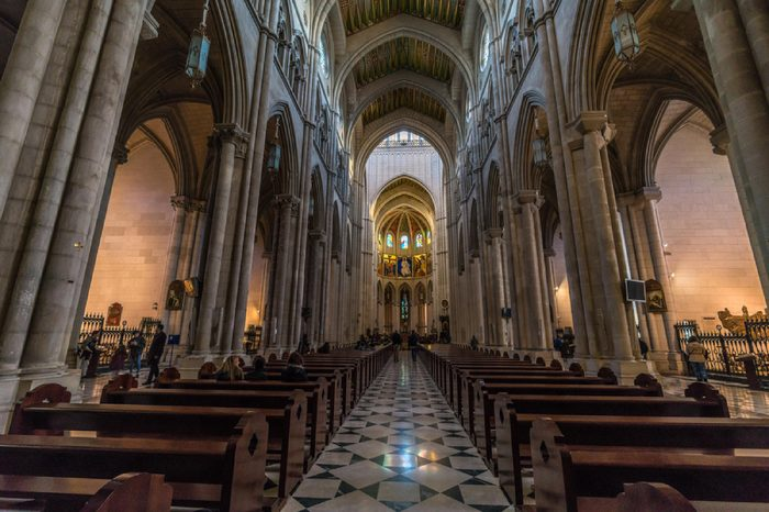 Madrid, Spain - December 29, 2017 : Interior of Cathedral de la Almudena. Cathedral of Saint Mary the Royal of La Almudena, Madrid Catholic cathedral. Madrid is the capital and largest city of Spain