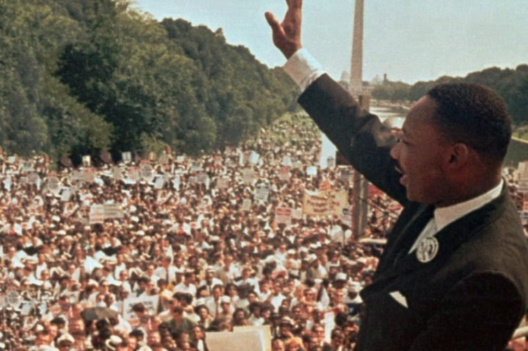 "Martin Luther King Dr. Martin Luther King Jr. acknowledges the crowd at the Lincoln Memorial for his ""I Have a Dream"" speech during the March on Washington"