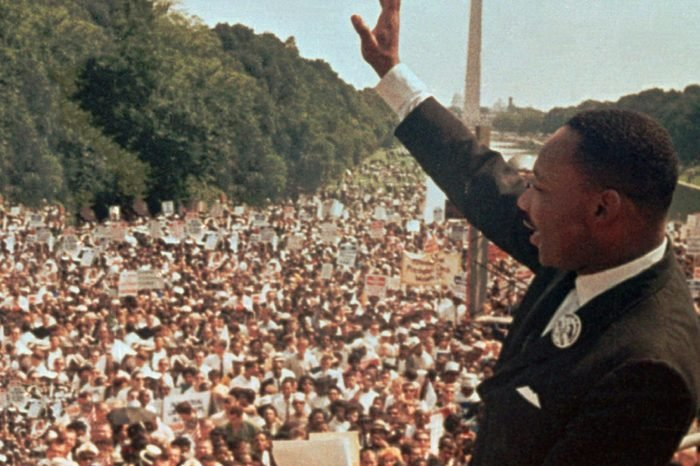 """Martin Luther King Dr. Martin Luther King Jr. acknowledges the crowd at the Lincoln Memorial for his """"I Have a Dream"""" speech during the March on Washington"""