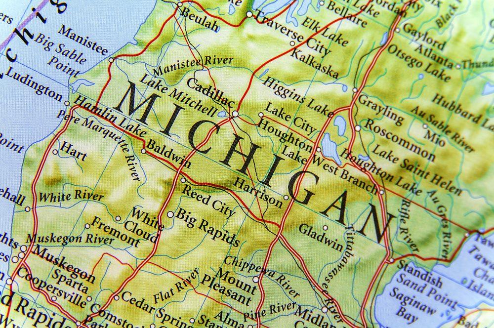 Geographic map of Michigan close