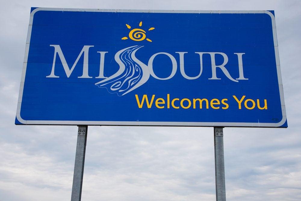 """""""Welcome to Missouri"""""""" sign off US Route 67 near Alton, Il. And Clark Bridge"""