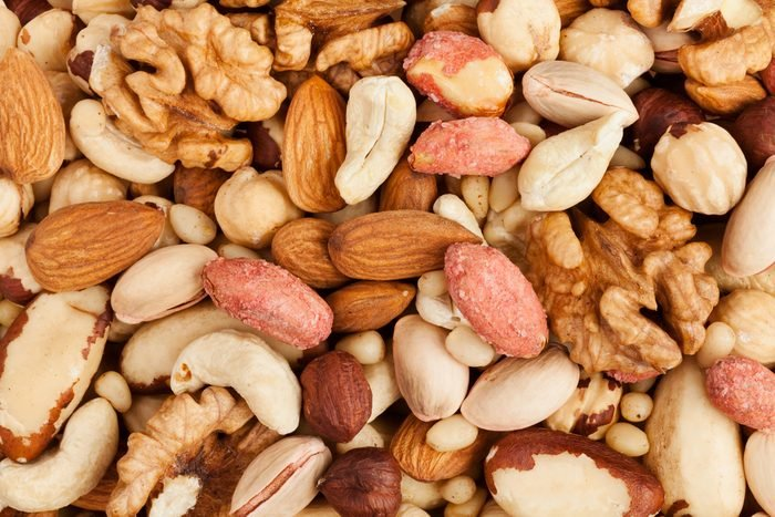 mixed nuts background above closeup