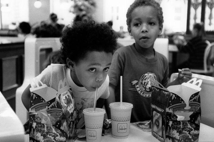 Model Released - 2 small children in McDonalds UK