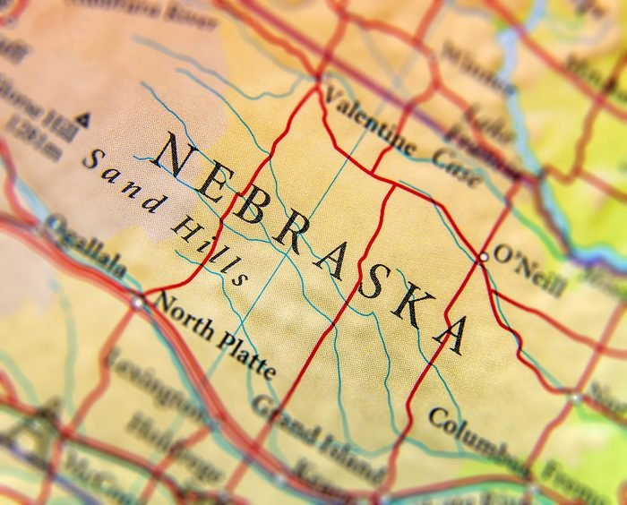 Geographic map of US state Nebraska with important cities