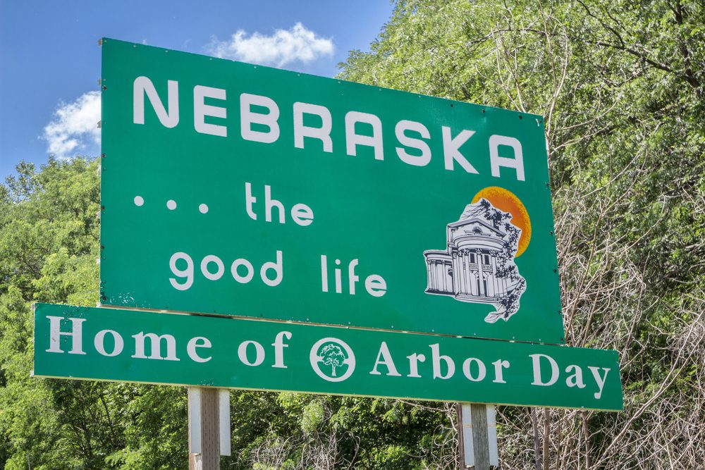 Nebraska , the good life, home of Arbor Day - roadside welcome sign at state border