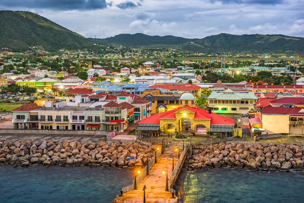 Basseterre, St. Kitts and Nevis town skyline at the port.