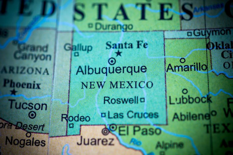 Map view of New Mexico on a geographical globe. (vignette)