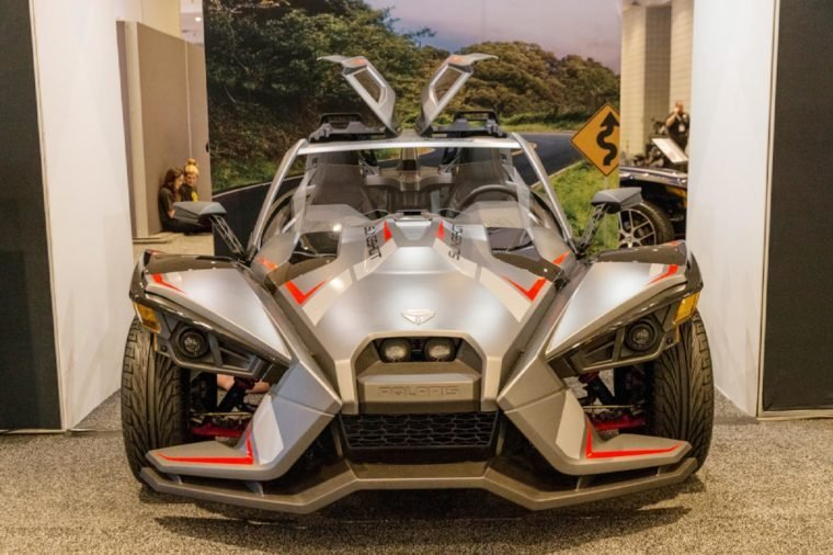 New York, NY - March 28, 2018: Slingshot Grand Touring LE by Polaris on display at 2018 New York International Auto Show at Jacob Javits Center