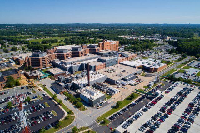 NEWARK, DE, USA - JUNE 29, 2017: Aerial photo of the Christiana Hospital and medical center