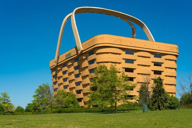 NEWARK, OH - MAY 15, 2017: The world's largest picnic basket, once the HQ of the Longaberger Basket Company, stands 7 stories tall and twice as long as a football field at the top.