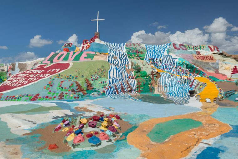 NILAND, CALIFORNIA - AUGUST 10: Leonard Knight's Salvation Mountain on Beal Road on August 10, 2016 near Niland, California