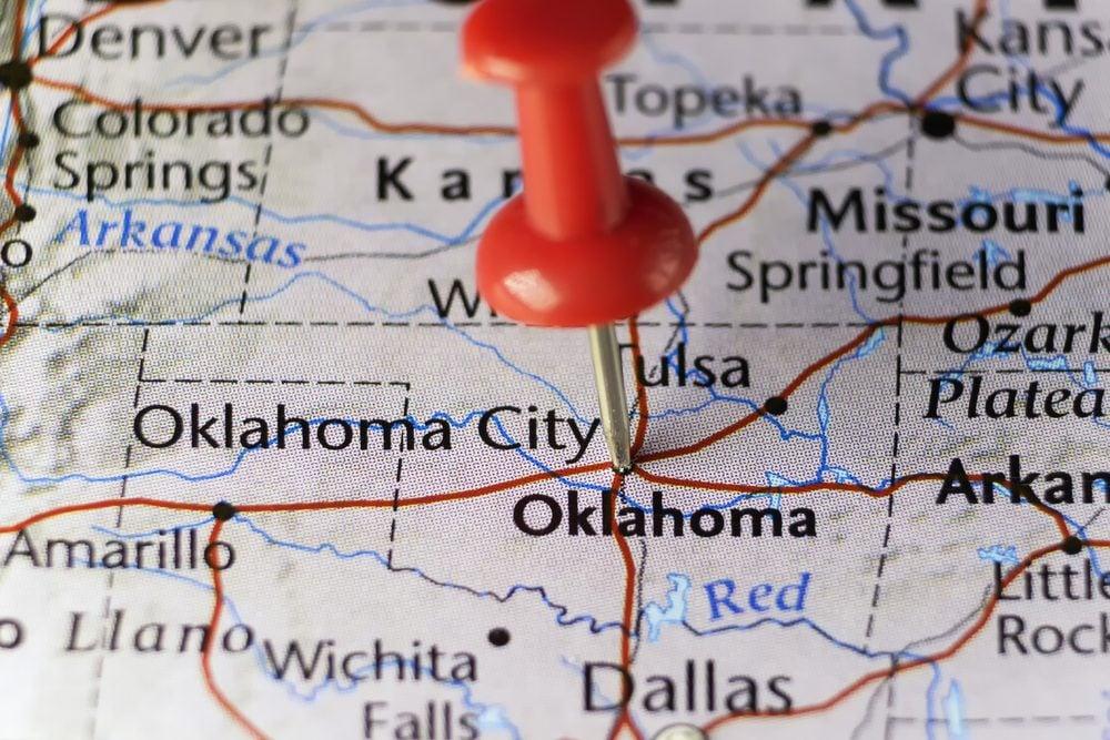 Red pin on Oklahoma city, Oklahoma, USA. Copy space available.