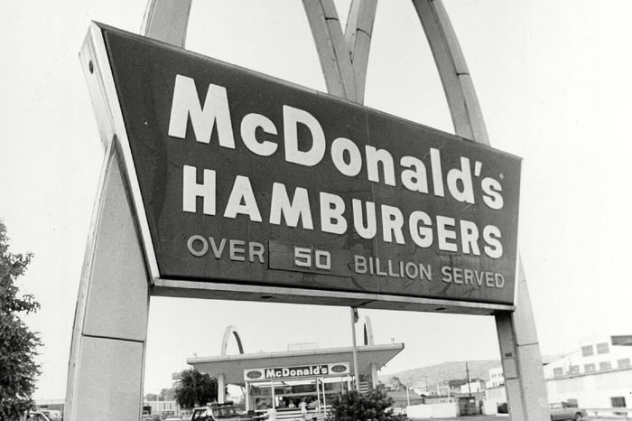 One of the last remaining old style Red-and White McDonald's, seen between the arches, stands in Beaver Falls, Pa., in Sept. 1985. It is one of six of the old style McDonald's restaurants still operating in the U.S