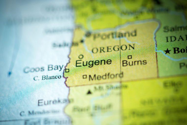 Closeup of Eugene, Oregon on a political map of USA.