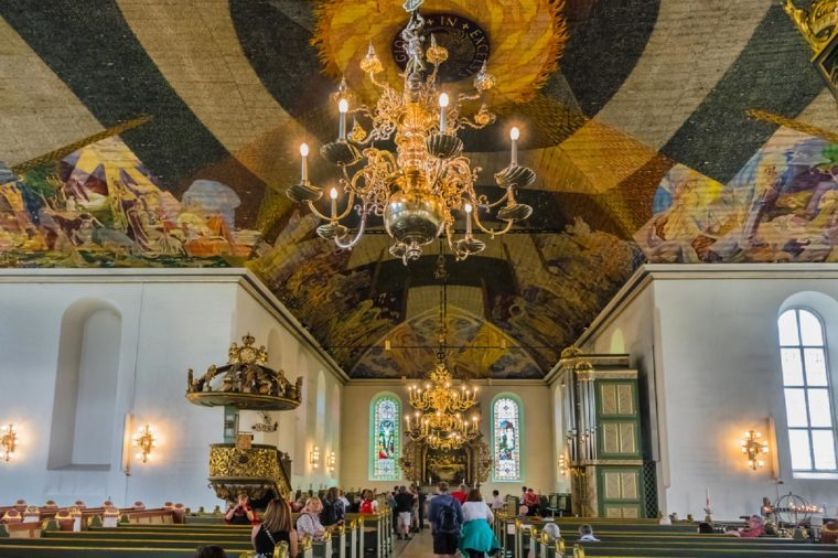 OSLO, NORWAY - JUNE 14, 2017: Interior of Oslo Cathedral (Oslo Domkirke, 1697) - formerly Our Savior's Church (Var Frelsers kirke) is main church for Church of Norway Diocese of Oslo.