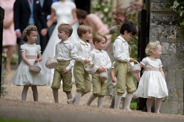 Pippa Middleton and James Matthews being led out by the Pageboys and Bridesmaids, Countess Philippa Hoyos, Lily French, Avia Horner, Princess Charlotte, Casimir Tatos, Edward Sebire, William Ward and Prince George